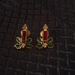 Avon Goldtone CZ Enamel Christmas Candle Earrings